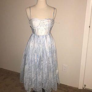 Lulus blue white striped dress Xs midi nwot zipper